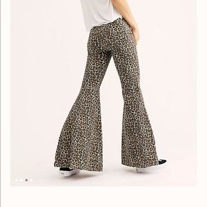 Free People Just Float On Flare Jeans in Cheetah